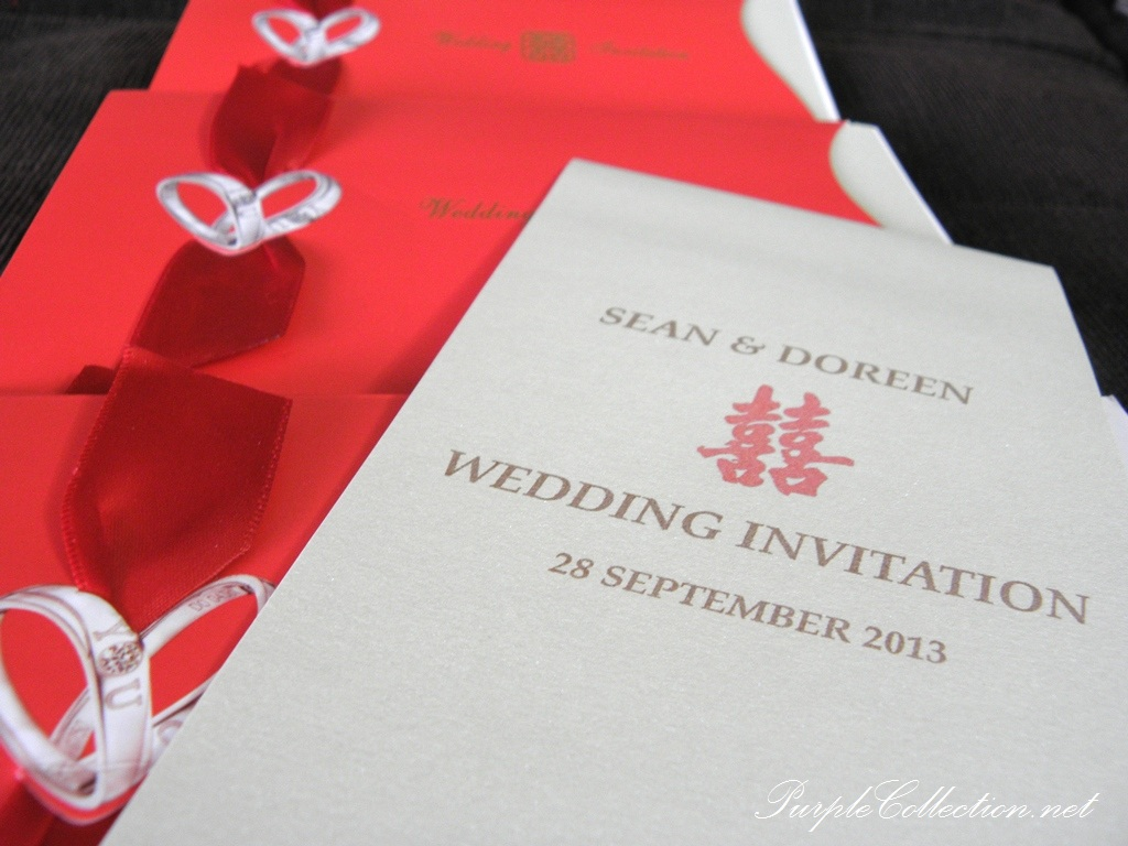 chinese red wedding ring card