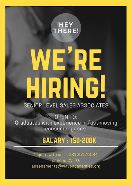 Senior Level Sales Associates Wanted
