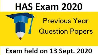 HAS Question Paper 2020
