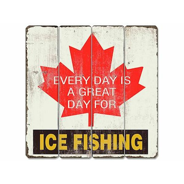 Great Day for Ice Fishing Wooden Sign Wall Décor