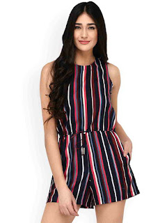 women-navy-blue--coral-striped-playsui