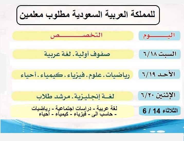 للتعاقد الفورى مطلوب معلمين للسعودية لجميع التخصصات بمزايا كبيرة وجدول المقابلات هنا