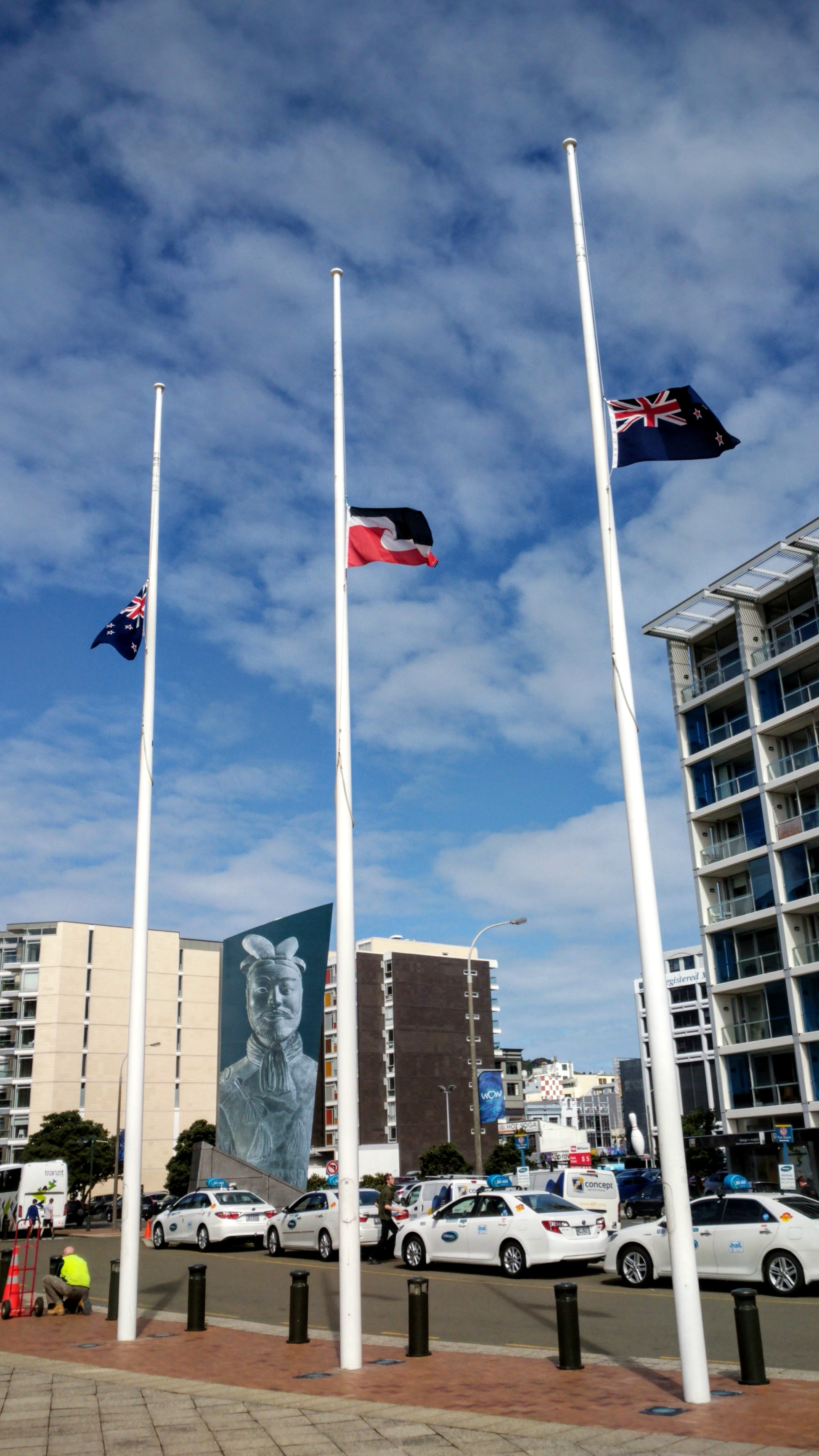 Flags flown at half mast to mark the funeral of former Vietnamese President Tran Dai Quang