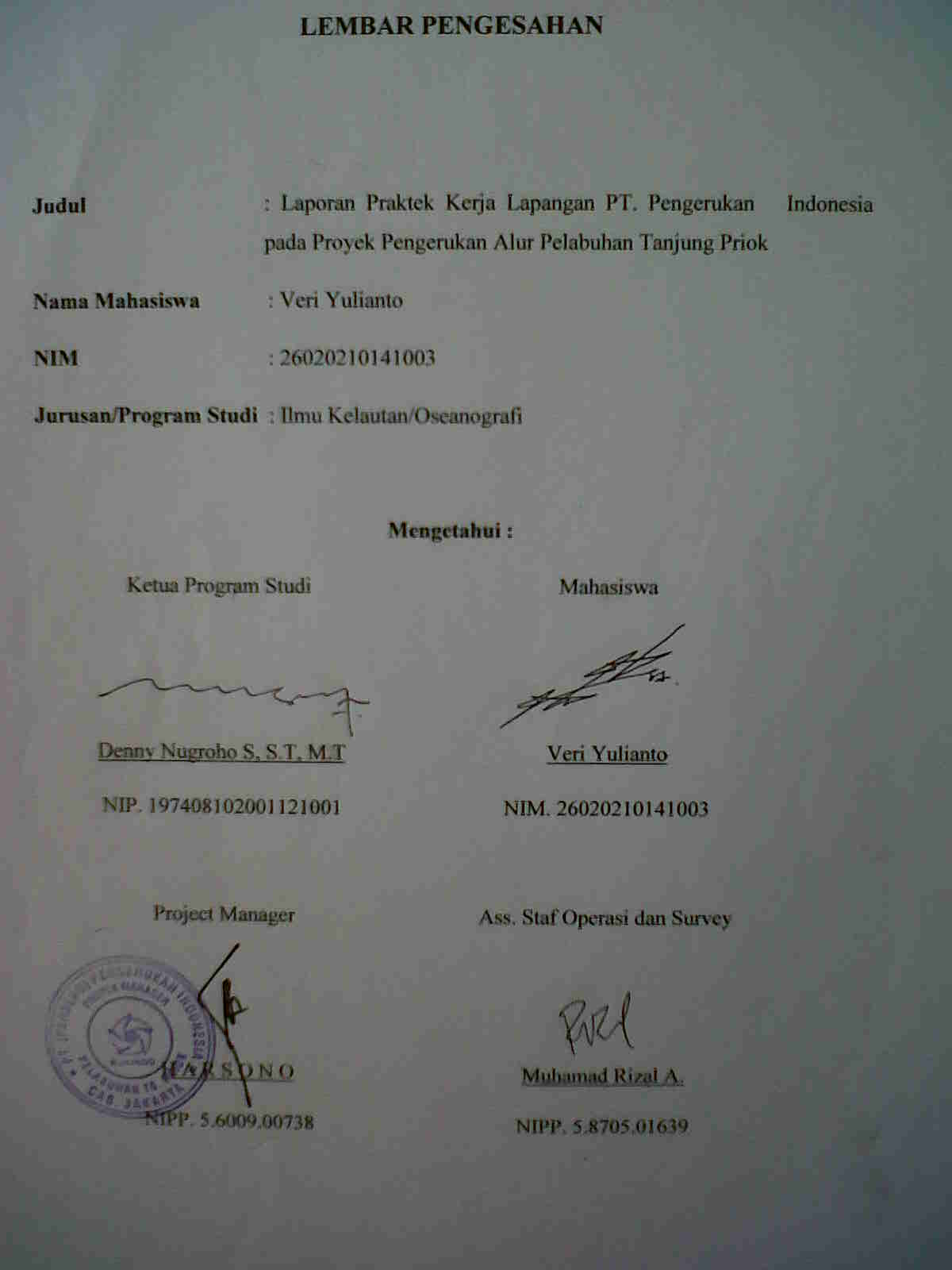 Very Very Very Laporan Praktek Kerja Lapangan Di Pt Pengerukan