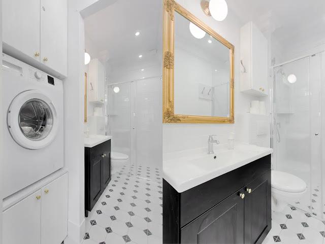 Best apartment krakow holiday rental short term bathroom art deco white black gold