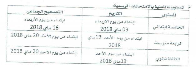 رزنامة الاختبارات الفصلية للسنة الدراسية 2017-2018