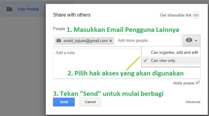 Memasukkan email pengguna lain untuk diundang ke Google Drive