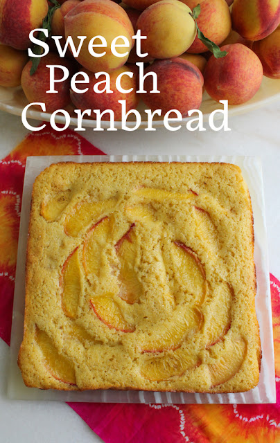 Food Lust People Love: The juicy fresh Georgia peaches inside and on top of this sweet peach cornbread make it super moist and absolutely delicious. You should use fresh sweet peaches when they are in season but you can certainly substitute canned peaches out of season.