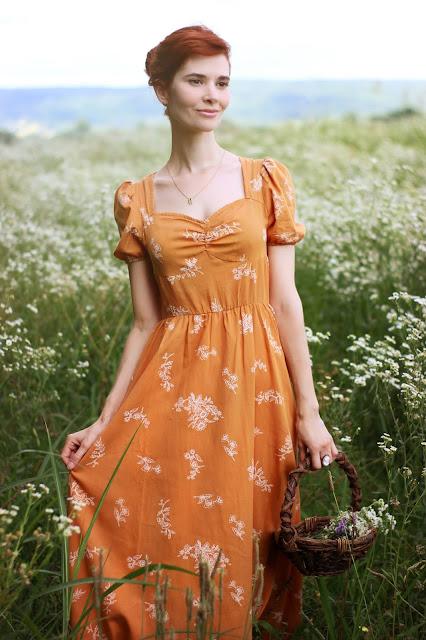 Goldenrod Mustard Floral Print Dress Shein