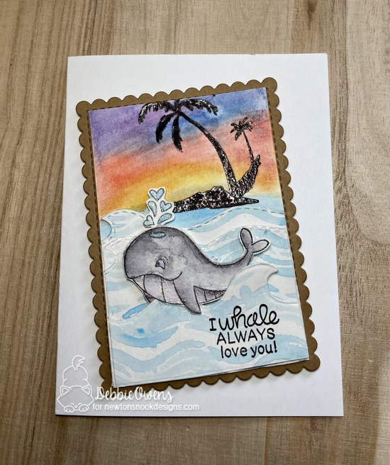 I whale always love you by Debbie features Tides of Love, Paradise Palms, Framework, and Sea Borders by Newton's Nook Designs; #newtonsnook, #inkypaws, #watercolorcards, #cardmaking,