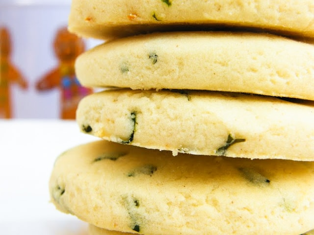 Close up of stack of Lemon and Sweet Basil Shortbread