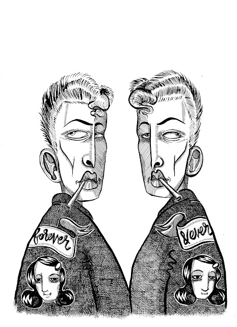 Creepy Twins Ink Illustration