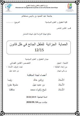 مذكرة ماستر: الحماية الجزائية للطفل الجانح في ظل قانون 15-12 PDF