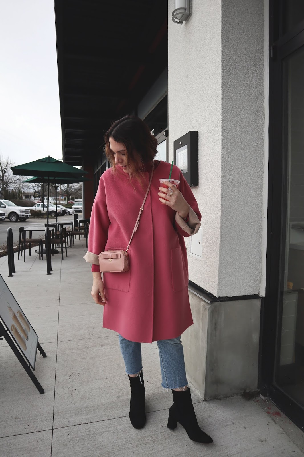 pink coat outfit weekend max mara coat vancouver blogger