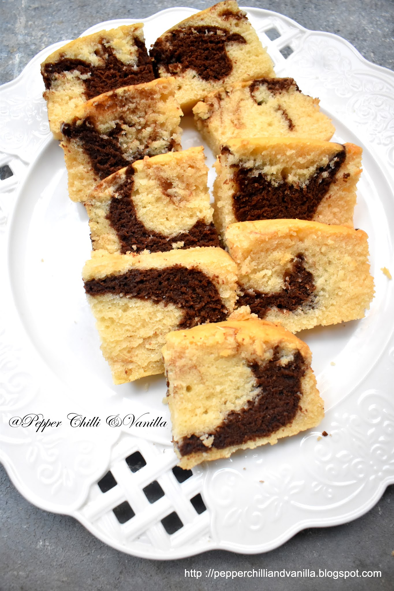 best eggless hot milk marble cake