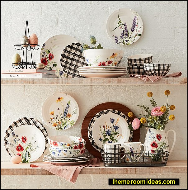 Wildflower Dinnerware farmhouse kitchen tableware french country dinnerware floral garden kitchen table decor