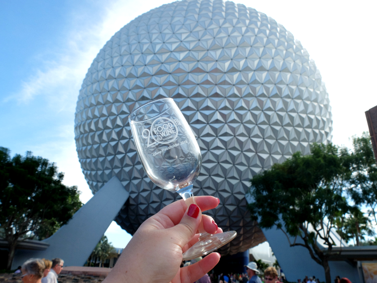 Walt Disney World, Epcot, Spaceship Earth, Food & Wine Festival 20th Anniversary passholder commemorative port wine glass