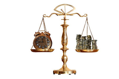 Old Fashioned Weight Scale Balancing Money Against Time