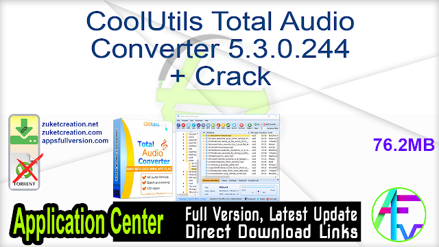 CoolUtils Total Audio Converter 5.3.0.244 + Crack