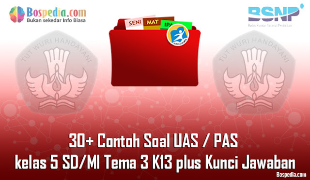 30+ Contoh Soal UAS / PAS untuk kelas 5 SD/MI Tema 3 K13 plus Kunci Jawaban