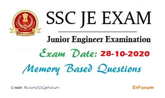 SSC JE 28-10-2020 Exam Paper [Memory Based] For All Branches