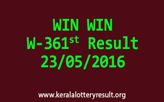 WIN WIN W 361 Lottery Result 23-5-2016