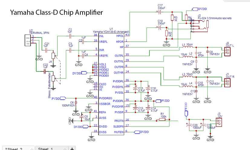 Cl-D Amplifier Yamaha YDA138 - Electronic Circuit on