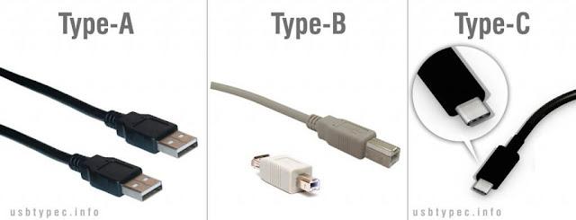 انواع USB حسب شكل المنفذ