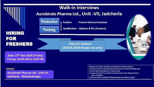 Aurobindo Pharma | Walk-in interview for Freshers on 27 Nov 2020