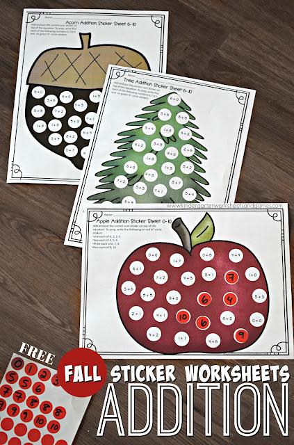 Free Sticker Addition Math Worksheets