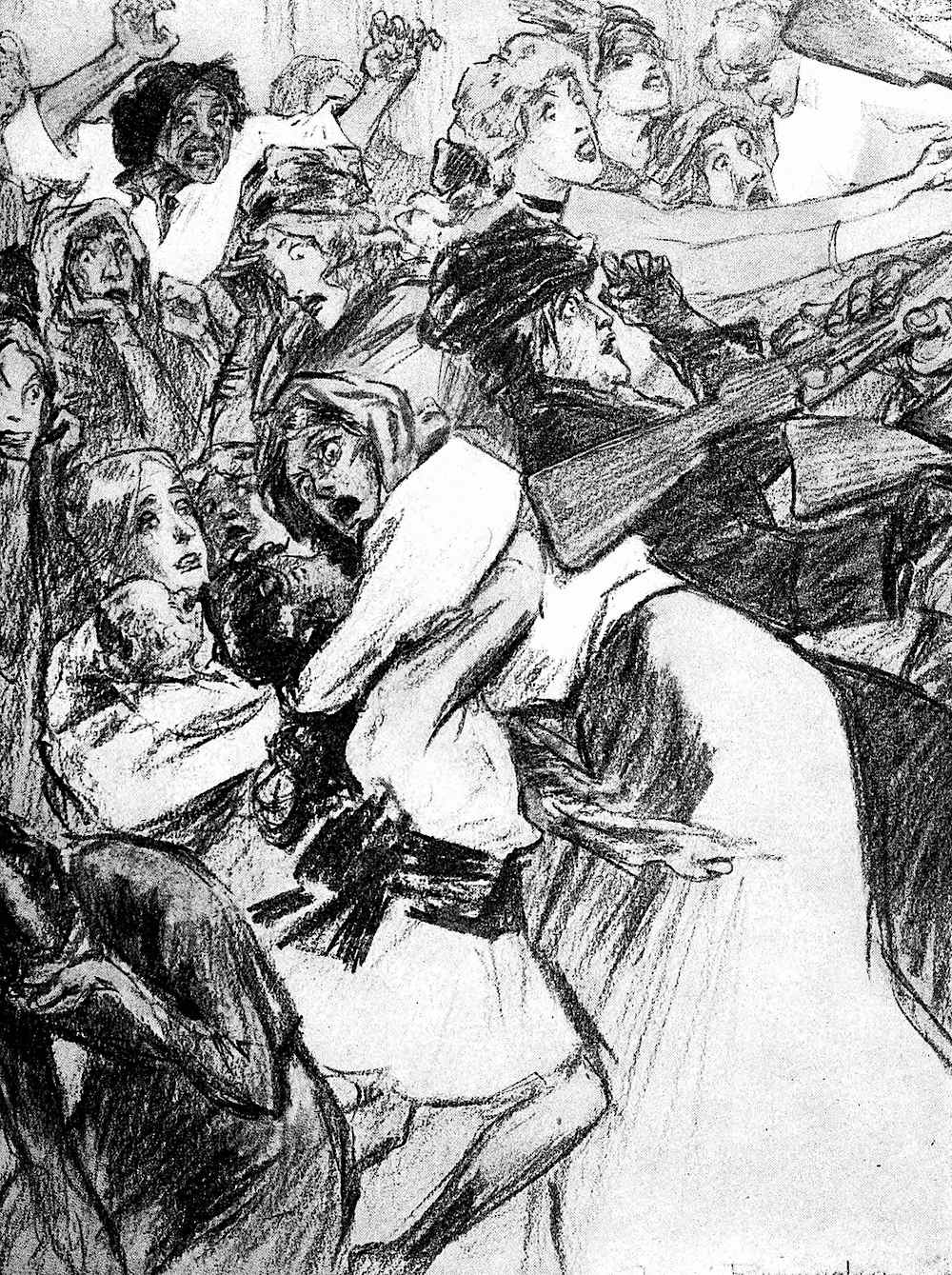 a Louis Raemaekers war cartoon, civilian women rifle butted