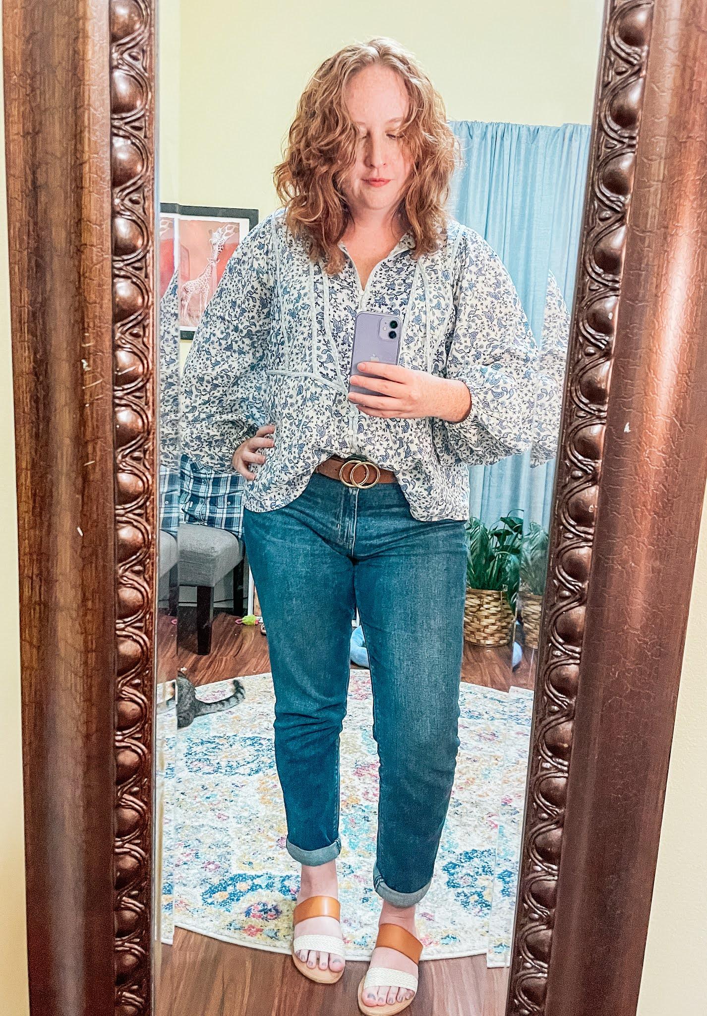 blue-floral-poets-blouse-boyfriend-jeans