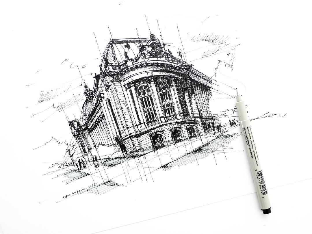 12-Petit-Palais-Dan-Hogman-Urban-Sketches-of-Paris-in-France-www-designstack-co