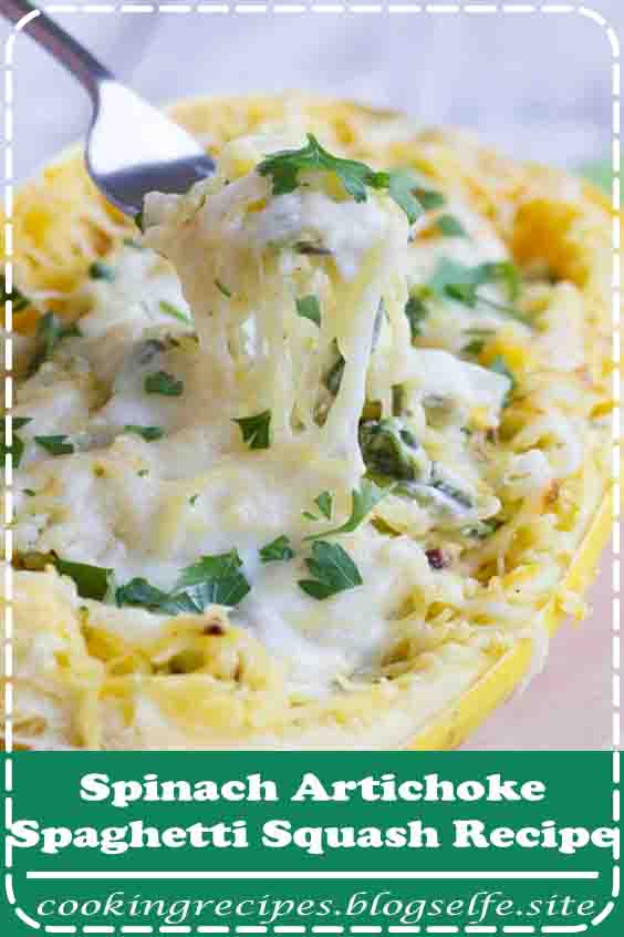 4.8 ★★★★★ | A healthier way to serve a favorite dip, this Spinach Artichoke Spaghetti Squash Recipe has squash combined with spinach, artichokes, and a creamy cheese sauce. #vegetarian #recipes #dinner #meatlessmonday #spaghettisquash