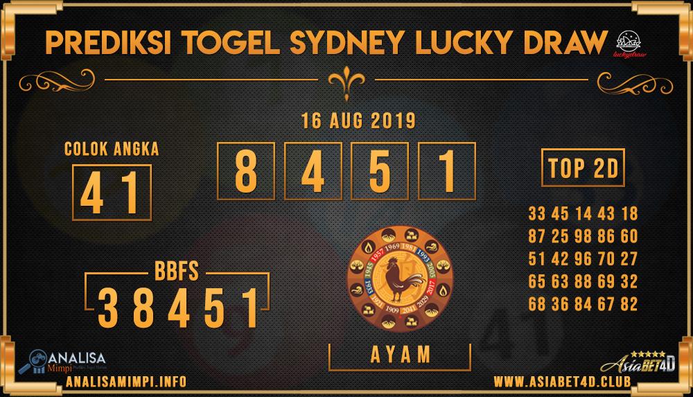 PREDIKSI TOGEL SYDNEY LUCKY DRAW 16 AUG 2019