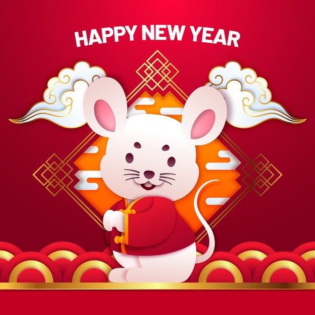 Cute chinese new year in paper style Free Vector