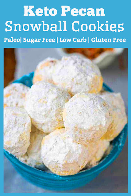 These Keto Pecan Snowball Cookies are paleo, sugar free, low carb, gluten free, grain free and now dairy free too! And the great thing about these sugar free snowball cookies are how simple they are to make and customize. They bake up soft, buttery and melt in your mouth delicious. Perfect for gifts and holiday cookie trays. #keto #pecan #paleo #lowcarb #sugarfree #cookies #desserts #glutenfree #healthydessert #holiday