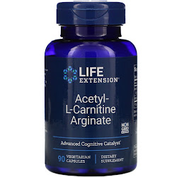 Life Extension, ацетил-L-карнитин аргинат, 90 вегетарианских капсул