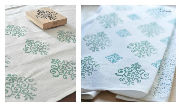 servilletas decoradas con sellos