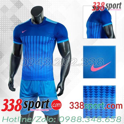 Mẫu Áo Bóng Đá Không Logo Đẹp Nike Aro Xanh Đậm