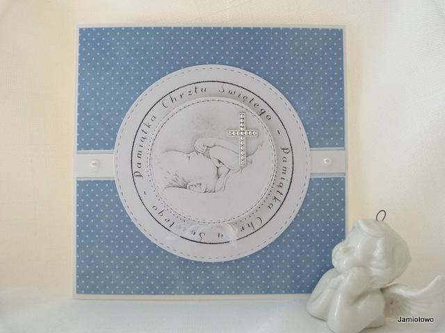 delikatna karteczka dla chłopca z okazji chrztu św.