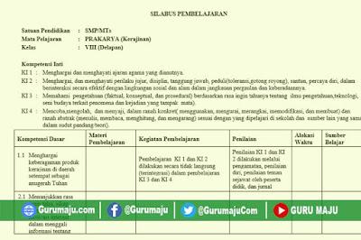 Silabus Prakarya SMP Kelas 8 Kurikulum 2013 Revisi Terbaru