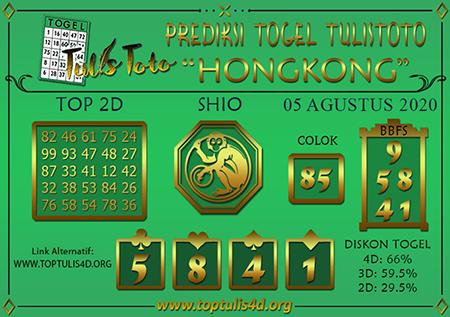 Prediksi Tulistoto Togel Hongkong Rabu 05 Agustus 2020