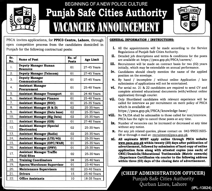 Jobs in Punjab Safe Cities Authority PPIC3 Centre Lahore October 2017