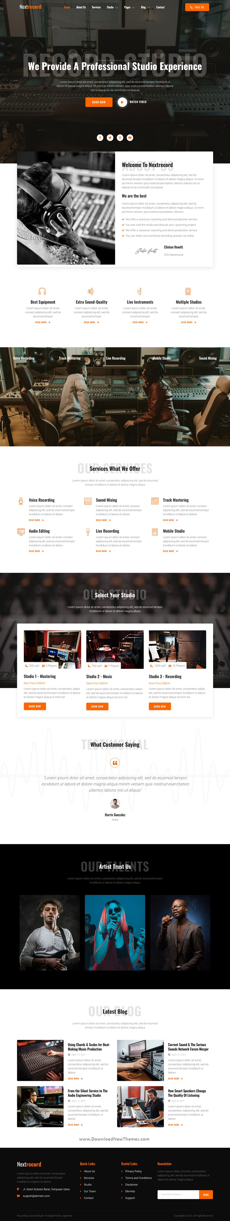 Recording & Sound Studio Elementor Template Kit