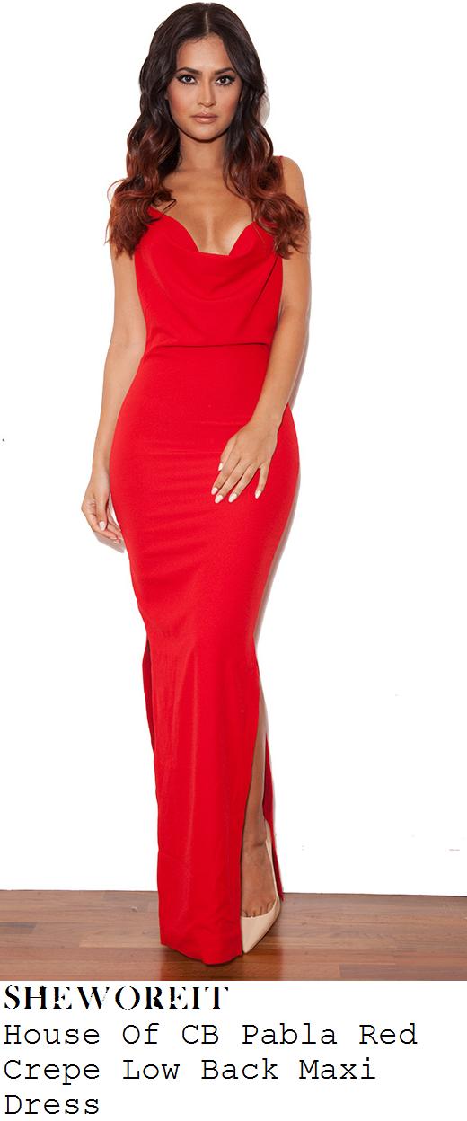 6026c56798ea Jorgie Porter's House Of CB Pabla Bright Red Sleeveless Multi Cami Strap  Detail Cowl Neck Low Back Crepe Maxi Dress