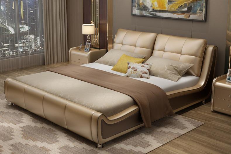 Giường ngủ bọc da bò cao cấp