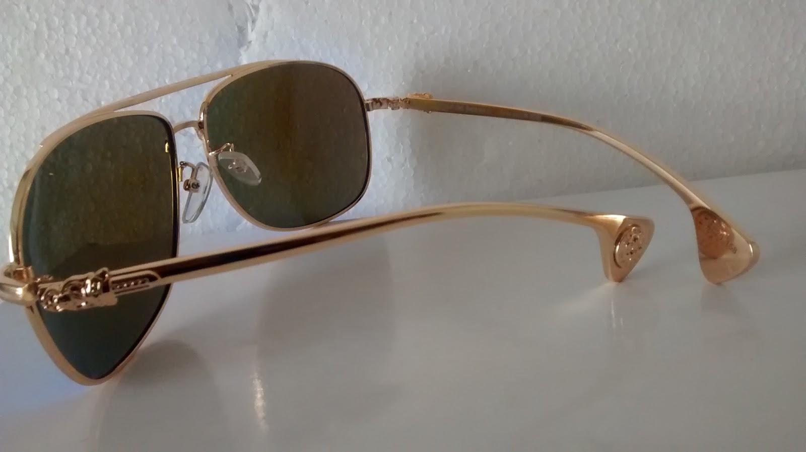 a5b4da7f750 Rs1999 Chrome Hearts Sunglasses Mirror Blue Gold Frame Size 62