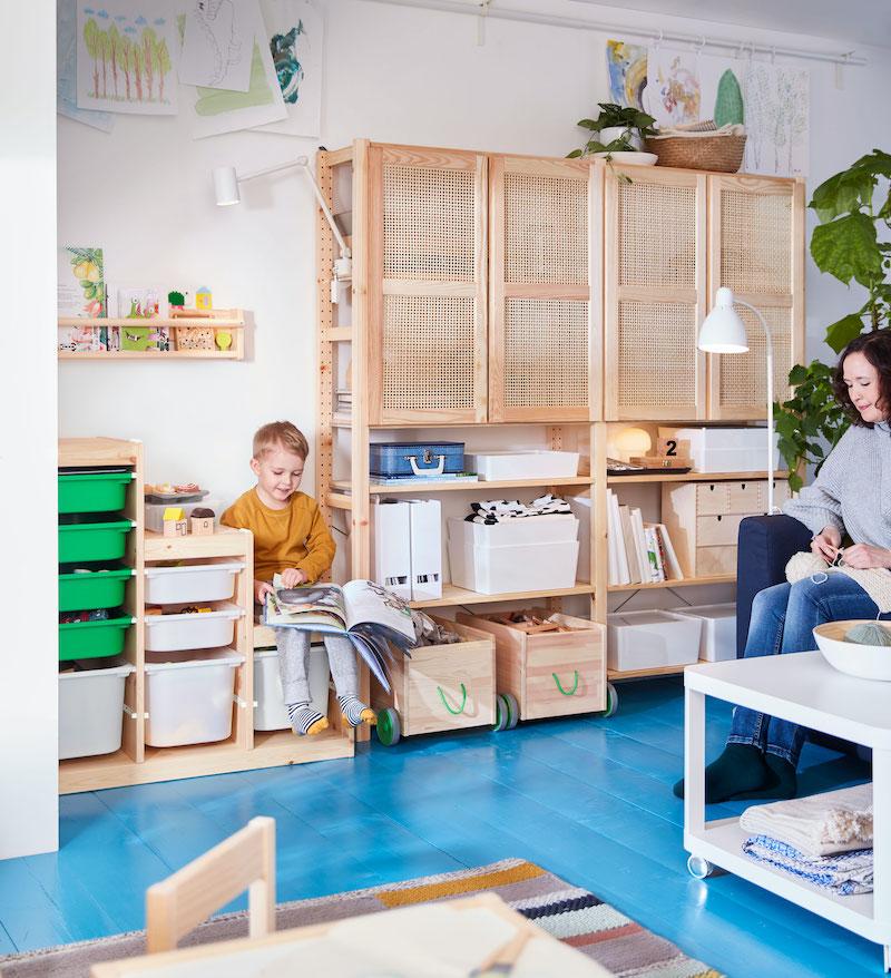 Dormitorio infantil con almacenaje de IKEA.