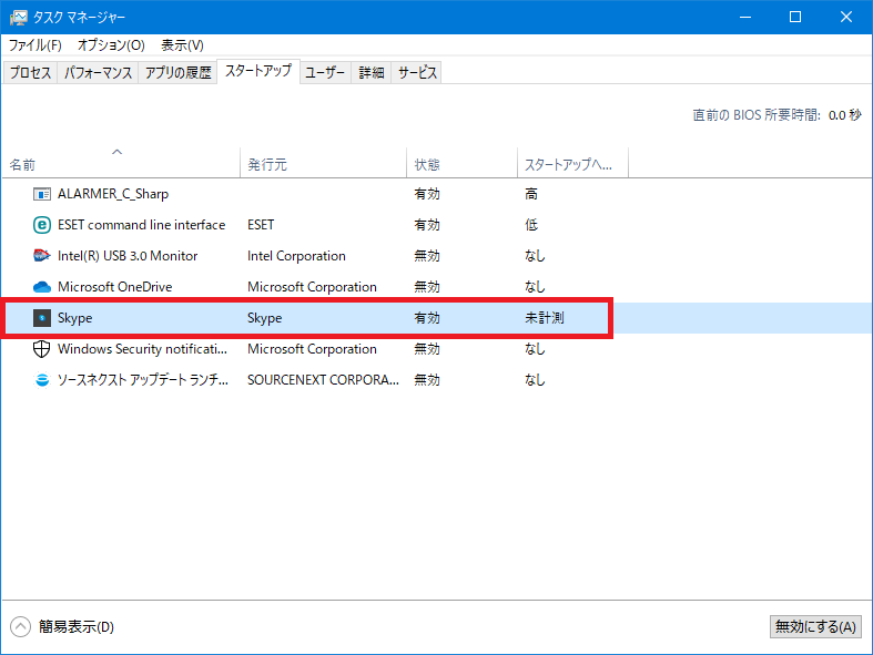 Windows10 不要サービス停止 etc.: Skypeの自動起動オフ